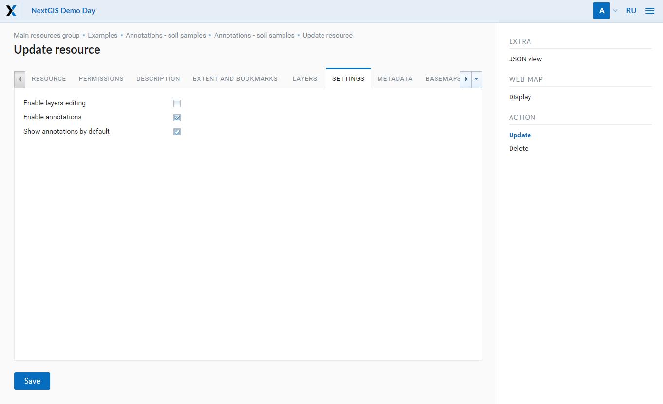 Web map: annotations settings
